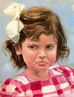 Pouty-portrait of Mary Margaret By Missouri Artist Kay Crain, painting by artist Kay Crain