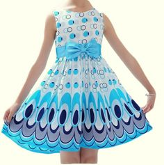 Cute Baby Girls Dress Summer 2017 Fashion Bow Belt Circle Peacock Print Kids Dresses For Girls Party Princess Dress Robe Fille Peacock Wedding Dresses, Peacock Dress, Wedding Party Dresses, Party Wedding, Dresses Kids Girl, Kids Outfits Girls, Kids Girls, Girl Outfits, Baby Girls