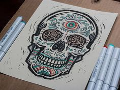 Dribbble - All Seeing - Sugar Skull - Block Print by Derrick Castle Sugar Skull Tattoos, Sugar Skull Art, Sugar Skulls, Funny Tattoos, Art Tattoos, Tatoos, Airbrush Art, Skull And Bones, Art And Architecture