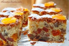 Fruit cake with white chocolate, apricots, walnuts and raisins