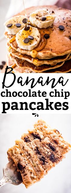 Chocolate Chip Banana Whole Wheat Pancakes are a delicious healthy breakfast option. They are quick and easy to make with wholesome ingredients so you can have Tham any time of the day. Full of delicious flavor and so fluffy - try them this weekend! | #recipe #breakfast #brunch #pancakes #healthy #healthyfood #chocolate #cleaneating