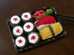 Amigurumi sushi. If you can work in rounds, this is easy to work up.