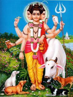 Lord Dattatreya - A Collective Form of Brahma, Vishnu and Shiva Shiva Hindu, Shiva Art, Shiva Shakti, Hindu Deities, Hindu Art, Shiva Yoga, Rudra Shiva, Lord Murugan Wallpapers, Lord Vishnu Wallpapers