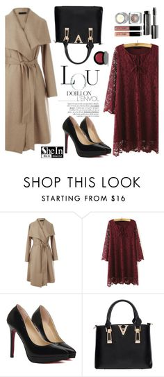 """""""Burgundy lace dress"""" by helenevlacho ❤ liked on Polyvore featuring Bobbi Brown Cosmetics and shein"""