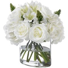 Diane James Mixed White Bouquet (520 CAD) ❤ liked on Polyvore featuring home, home decor, floral decor, artificial flower bouquets, flower bouquets, diane james, white bouquet and white home accessories