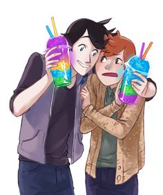 Slurpees by vythefirst on DeviantArt Manhwa, Bl Comics, Lgbt Couples, Webtoon Comics, Cute Gay, Dark Backgrounds, Totoro, Short Film, Best Friends