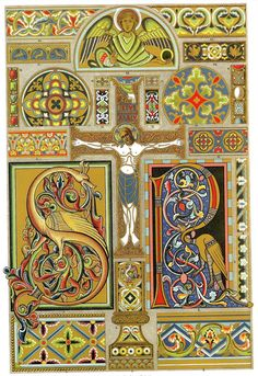 "Middle-Ages Enamel and Illumination of Manuscripts    ""The Romanesque ornament found its freest display in the illumination of manuscripts, where particularly the large initials were magnificently treated.The ground of the paintings in the earlier times was gold, later on many-coloured."