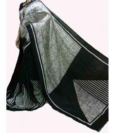 Black Handpainted Murshidabad Silk Saree