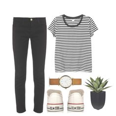 A fashion look from August 2014 featuring striped t shirt, Frame Denim and white canvas shoes. Browse and shop related looks.