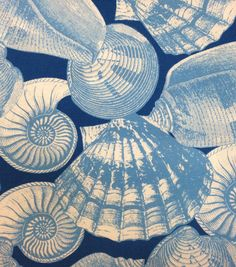 Nautical Fabric- Large Seashells Outdoor Fabric