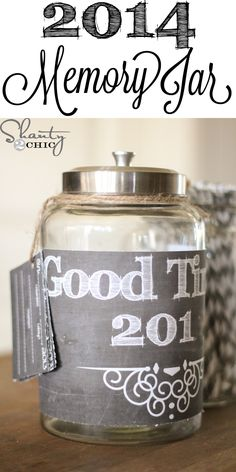 2014 Memory Jar FREE Printable ~ Have the kiddos write great times in 2014, drop in the jar, open and read on New Year's Eve!  Love this!