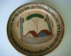"Old vintage Mexican Tlaquepaque tourist pottery plate 10 1/2"" diam."