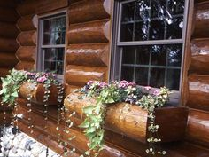 A Victorian, Lodge-Style Log Home in Michigan - Built-in Planter Boxes on the Windows of the Garland Log Home. Log Cabin Siding, Log Cabin Exterior, Log Cabin Homes, Log Cabins, Mountain Cabins, Window Box Flowers, Flower Boxes, Window Boxes, Window Planters