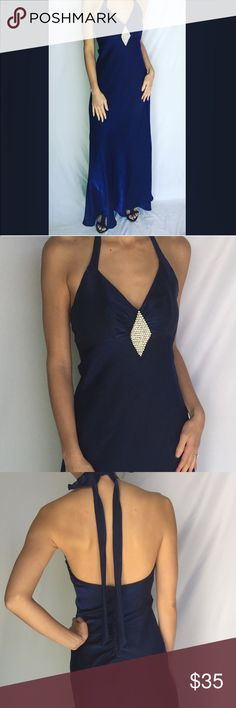 Midnight blue diamond accent prom/evening gown Beautiful Midnight blue diamond accent prom/evening gown. No stains or holes. Size 3/4 Juniors. Has halter top. Morgan & Co. Dresses Prom