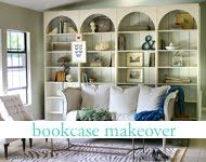 Bookcase makeover - transformed old built-in units found at thrift store.