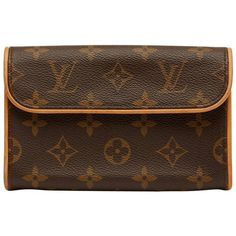 Preowned 2003 Louis Vuitton Brown Coated Monogram Canvas Pochette... ($675) ❤ liked on Polyvore featuring bags, belt bags, brown, canvas bags, hardware bag, canvas fanny pack, brown canvas bag and waist bag