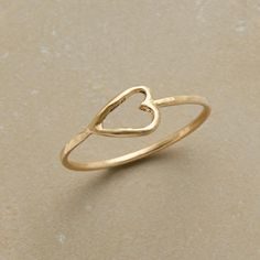 TENDER LOVE RING--To create this Rebecca Lankford gold heart ring, the designer fashions fine gauge wire into a delicate heart for daily wear. Handmade in USA of matte, hammered 10kt gold. Whole sizes 5 to 9.