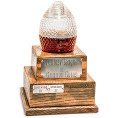 Glass Fantasy Football Trophy Decanter (2 Week Backorder) Fantasy Football League, Fantasy League, Fantasy Football Trophy Diy, Trophy Stand, Football Trophies, Football Names, Football Humor, Football Shirts, Baseball Cards