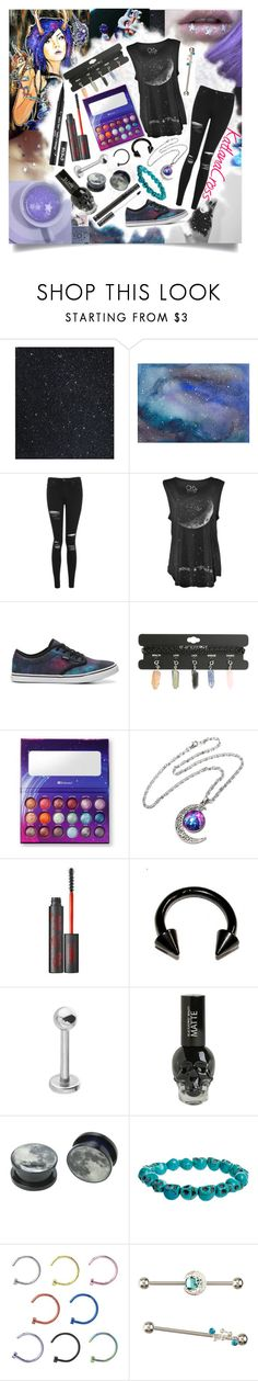 """""""""""I'm not in this universe, my body's stuck in reverse"""""""" by katlanacross ❤ liked on Polyvore featuring GET LOST, Topshop, Vans, Hot Topic, Kat Von D and Nemesis"""
