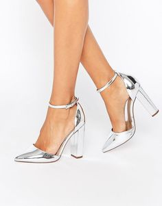 2ecad05f0174 Image 1 of ASOS PENALTY Pointed High Heels Silver Pointed Heels