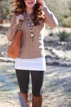brown cable knit sweater, white undershirt, black leggings and boots!