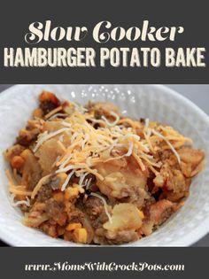 An easy weeknight dinner! Try this Slow Cooker Hamburger & Potato Bake #recipe