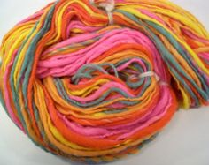Rainbow sherbet wool handspun yarn - hand dyed worsted weight - 154 yards - 2.7 oz - orange lemon berry lime watermelon
