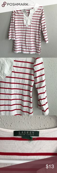 Ralph Lauren red and white top Ralph Lauren red and white top. Strip. Large. Size tag is cut off. Ralph Lauren Tops Blouses