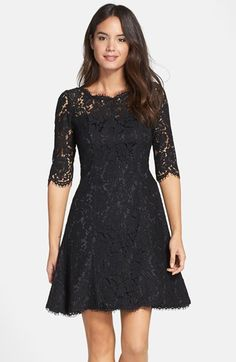 Free shipping and returns on Eliza J Lace Fit & Flare Dress (Regular & Petite) at Nordstrom.com. Lovely floral lace with scalloped edges brings romantic charm to this princess-seamed dress styled with a flouncy skirt for twirling over the dance floor. Peekaboo sheerness at the yoke and three-quarter sleeves adds an alluring touch.