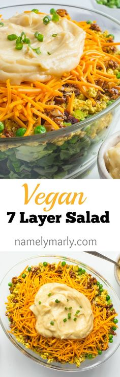This Vegan 7 Layer Salad is filled with all of your favorite salad toppings. Find the recipe at namelymarly.com