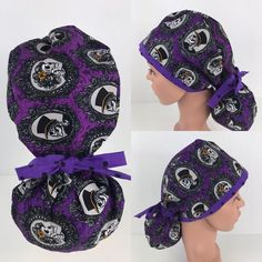 Skulls Ponytail Hat – Oksana's Creations Surgical Caps, Scrub Hats, Drip Dry, How To Make Bows, Different Styles, Making Out, Ponytail, Skulls, Scrubs
