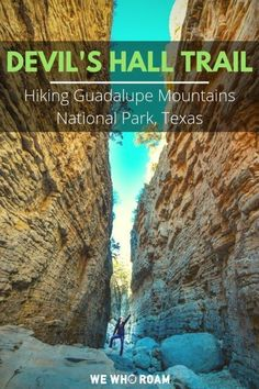 Hike Devil's Hall Trail to 2 towering 50 ft limestone walls in Guadalupe Mountains National Park. Walls that are seemingy manmade, but completely natural! hiking in illinois, hiking essentials packing lists, what to wear hiking Smoky Mountain National Park, Grand Teton National Park, Texas National Parks, Guadalupe Mountains National Park, Travel Activities, Hiking Trails, Hiking Usa, Travel Usa, Texas Travel