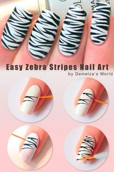 17 Zebra Print Nail Art Ideas That Are All Rage. Tutorial Provided Zebra print nail design ideas to go wild and trendy from tip to toe. Learn how to create zebra nails and choose the nail art that resonates in you best. Zebra Stripe Nails, Zebra Nail Art, Zebra Print Nails, Nail Art Stripes, Animal Nail Art, Tiger Nail Art, Zebra Makeup, Fall Nail Art, Nail Art Diy