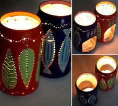 Recycling beer cans into candle lamps Candle Lamp, Candles, Soda Can Crafts, Diy Cans, Aluminum Cans, Types Of Craft, Candle Making, Recycling, Candle Holders