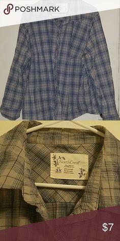 Gray, blue and purple plaid shirt.  Size 3x. North crest 3x long sleeve plaid shirt. Tops