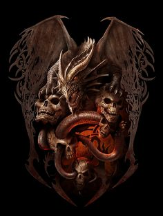 Dragon and skulls by *yigitkoroglu on deviantART