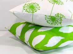 Decorative Pillows LIME green & white 20x20 Throw by beckorama, $63.00