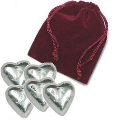 5-pc Chocolate Heart in Velvet Bag