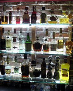 Photos: Home Bars and Wine Cellars - home bar area with backlit shelves - Basement Bar Designs, Home Bar Designs, Basement Ideas, Basement Renovations, Kitchen Designs, Home Wet Bar, Bars For Home, Bar Lounge, Glass Bar Shelves