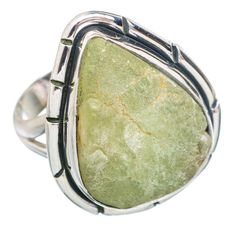 Rough Prehnite 925 Sterling Silver Ring Size 8.25 RING746964
