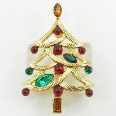 Vintage Napier Jeweled Christmas Tree Pin Book Piece