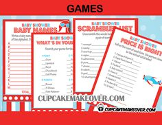 Add a ton of fun to your airplane themed baby shower with this set of 4 games.  DIY printable fun games. #cupcakemakeover