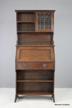 Forceful Antique Bookcase In Solid Oak Circa 1900 Bookcases