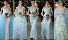 Los impresionantes vestidos de novia azules de Oscar de la Renta 2013