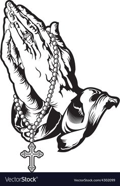 Praying Hands With Rosary Tattoo Illustration 52341083 Prayer Hands Drawing, Rosary Drawing, Prayer Hands Tattoo, Pray Tattoo, Chicanas Tattoo, Money Tattoo, Two Hands Tattoo, Hand Tattoos, Tattoos Skull