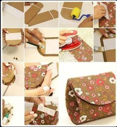How to make your own beautiful designer money Pouch step by step DIY tutorial instructions Diy And Crafts Sewing, Easy Paper Crafts, Good Tutorials, Craft Tutorials, Craft Ideas, Diy Ideas, Project Ideas, Diy Clothes Tutorial, Diy Tutorial