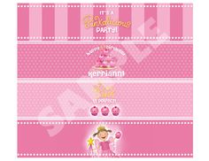 Pinkalicious  Custom Water Bottle Wrappers by partypixieinvites, $5.00