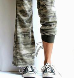 DIY idea: wide-leg pants into sweatpants.