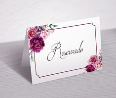Floral Rosa, Recipe Cards, Place Cards, Place Card Holders, Scrapbook, Flowers, Marsala, Ideas Para, Biscuit