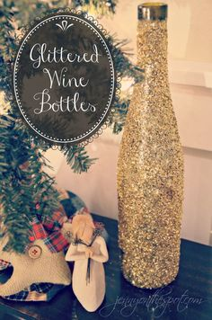 glittered wine bottle